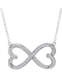 Jewelry Affairs - Double Heart Infinity Sign And Cz Necklace In Sterling Silver, 18 - Lyst