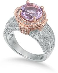 Suzy Levian - Two-tone Sterling Silver Round 4.85 Tcw Purple Amethyst Ring - Lyst