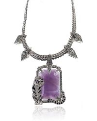 Roberto Cavalli - Purple Enamel Swarovski Crystal Tiger Necklace - Lyst