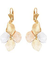 Peermont - Triple Tone Leaf Drop Earrings - Lyst