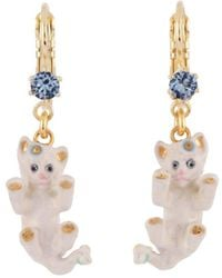 Les Nereides - Little Cats Playing And Rhinestone Earrings - Lyst