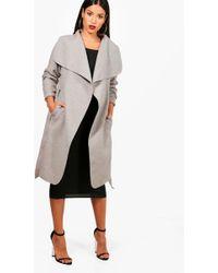 Boohoo - Maternity Belted Shawl Collar Coat - Lyst