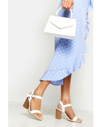 Boohoo - Wide Fit Wooden Block Heel Sandals - Lyst