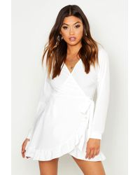 fbc8653b859c3 Boohoo Ruffle Tiered Spot Skater Dress in White - Lyst