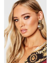 Boohoo - Double Circle Statement Earrings - Lyst