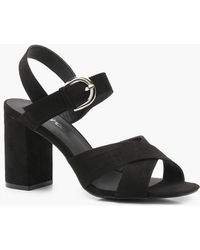 Boohoo - Freya Wide Fit Cross Strap Block Heels - Lyst