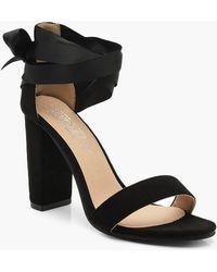 c7f9d115a23 Lyst - Boohoo Clear Heel Wrap Strap Sandals in Black