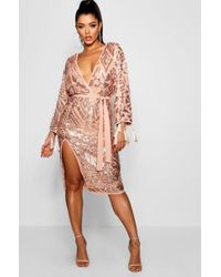 Boohoo - Sequin And Tassel Kimono Sleeve Midi Dress - Lyst