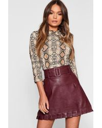 afaa43fa6 Boohoo - Belted Pu Frill Hem Leather Look Mini Skirt - Lyst