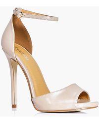5d8d0c20eaac Lyst - Boohoo Peeptoe Block Heel Sandals in White