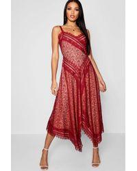 Boohoo - Premium Eyelash Lace Asymmetric Hem Midi Dress - Lyst
