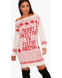 Boohoo - Lacey Slash Neck Filthy Animal Christmas Jumper Dress - Lyst