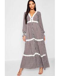 Boohoo - Plunge Shirred Sleeve Gingham Maxi Dress - Lyst