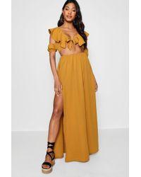 Boohoo - Knot Front Double Split Maxi Dress - Lyst