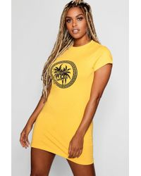 Boohoo - California Dreamer Print T-shirt Dress - Lyst