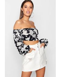 Boohoo - Petite Jessy Bold Floral Balloon Sleeve Crop Top - Lyst