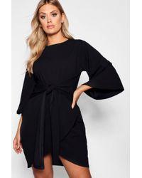 Boohoo - Plus Kimono Sleeve Tie Waist Wrap Dress - Lyst