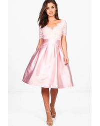 Boohoo - Boutique Fay Eyelash Lace Skater Dress - Lyst