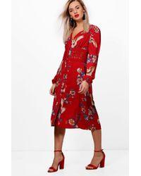Boohoo - Tammy Oriental Crochet Waist Midi Dress - Lyst