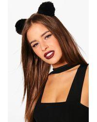 Boohoo - Freya Knitted Pom Mouse Ears Headband - Lyst