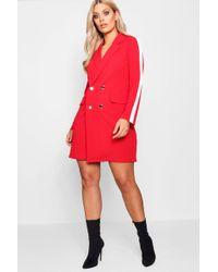Boohoo - Plus Wrap Stripe Tux Dress - Lyst