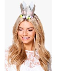 Boohoo - Connie Hen Bride Slogan Crown Headband - Lyst