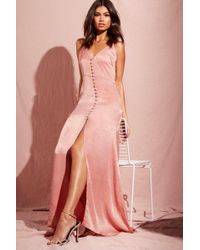 Boohoo - Hammered Satin Button Through Maxi Dress - Lyst