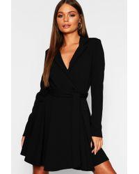 4d58e5dc0f2d Lyst - Boohoo Corset Lace Up Waist Stripe Shirt Dress in Black