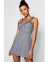 Boohoo - Ruffle Shoulder Gingham Mini Dress - Lyst
