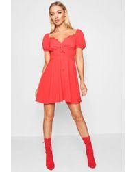 Boohoo - Kendra Tie Front Woven Tea Dress - Lyst