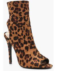 Boohoo - Leopard Peeptoe Shoe Boots - Lyst