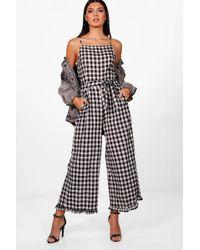 209d9cff7ca6 Dorothy Perkins Black Gingham Shirred Jumpsuit in Black - Lyst