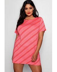 Boohoo - Plus Stripe T-shirt Dress - Lyst