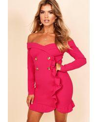 Boohoo - Bardot Tuxedo Button Mini Dress - Lyst