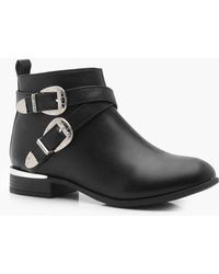 Boohoo - Buckle Strap Chelsea Boots - Lyst