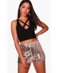 Boohoo - Stephanie All Over Sequin High Waisted Hot Trousers - Lyst