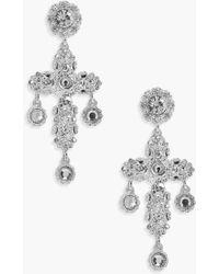 Boohoo - Lucy Statement Diamante Cross Earrings - Lyst