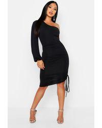 aa492628940e Lyst - Boohoo Jo Rouched Detail Asymmetric Slinky Bodycon Dress in Black