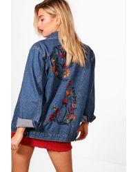 Boohoo - Laurel Folk Embroidered Denim Jacket - Lyst