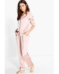 Boohoo - Esme Contrast Piping Button Down Satin Set - Lyst