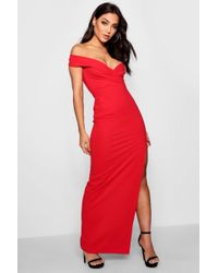 3b7bf321565 Boohoo Fliss Off Shoulder Long Sleeve Maxi Dress in Red - Lyst