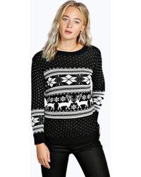 Boohoo - Roxy Reindeer Fairisle Christmas Jumper - Lyst