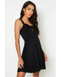 897745ee86d2b Boohoo Afua Choker Lace Detail Skater Dress in Black - Lyst
