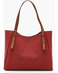 Boohoo | Georgie Contrast Handle Suedette Day Bag | Lyst