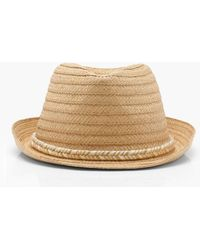Boohoo - Metallic Plait Band Straw Trilby - Lyst