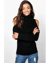 389aefa90c Lyst - Boohoo Caitlin Cold Shoulder Jumper in Black