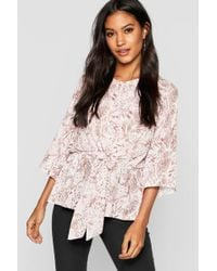 Boohoo - Snake Print Tie Front Blouse - Lyst