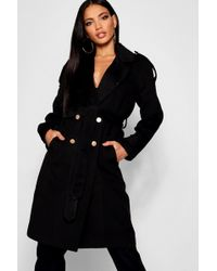Boohoo - Belted Double Breasted Wool Look Trench - Lyst