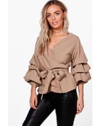 Boohoo - Ruffle Tiered Sleeve Wrap Top - Lyst