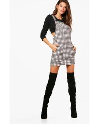 Boohoo | Louise Gingham Denim Pinafore Dress | Lyst